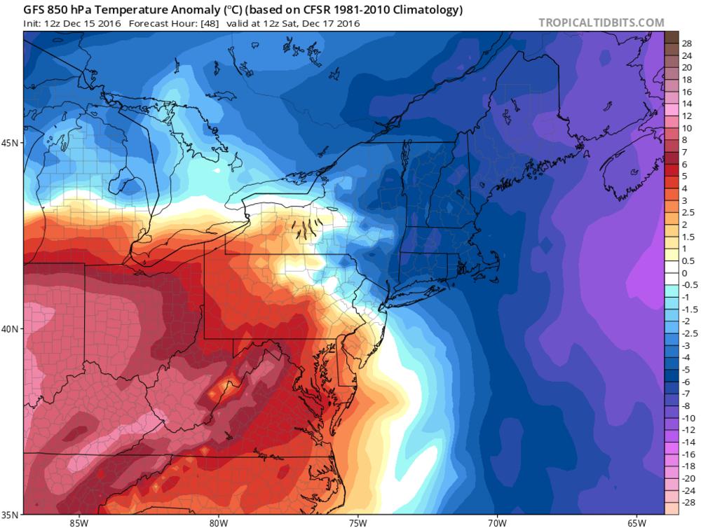 12Z GFS forecast map of 850 mb temperature anomalies for Saturday morning - Arctic air retreats; map courtesy tropicaltidbits.com, NOAA