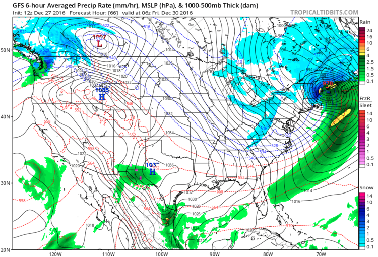 12Z GFS surface forecast map for late Thursday night featuring a potential snowstorm for much of New England; map courtesy tropicalttidbits.com, NOAA