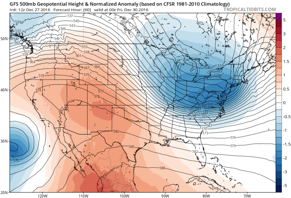 Deep upper-level low in the Northeast US on Thursday night as forecasted by the 12Z GFS; map courtesy tropicaltidbits.com, NOAA