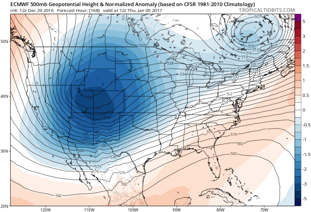 12Z Euro forecast map of 500 mb height anomalies on Thursday, January 5th showing a vigorous upper-level low over the Rockies which could spawn a storm to develop in the southern states; map courtesy tropicaltidbits.com