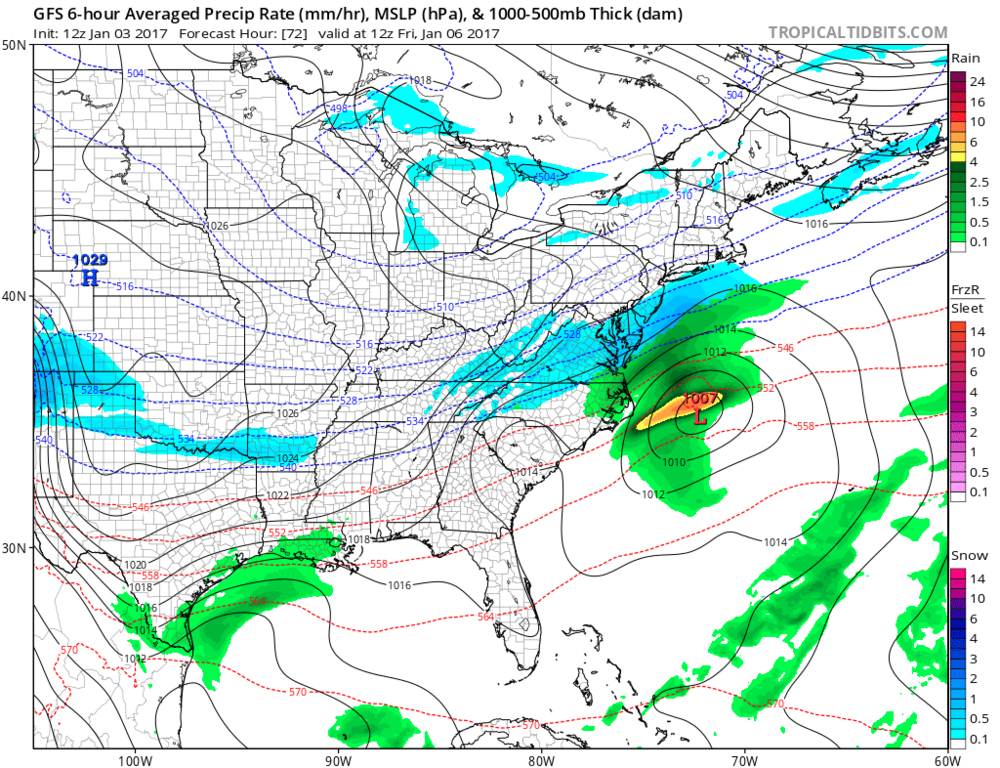 12Z GFS forecast map for Friday morning (snow in blue); map courtesy tropicaltidbits.com, NOAA