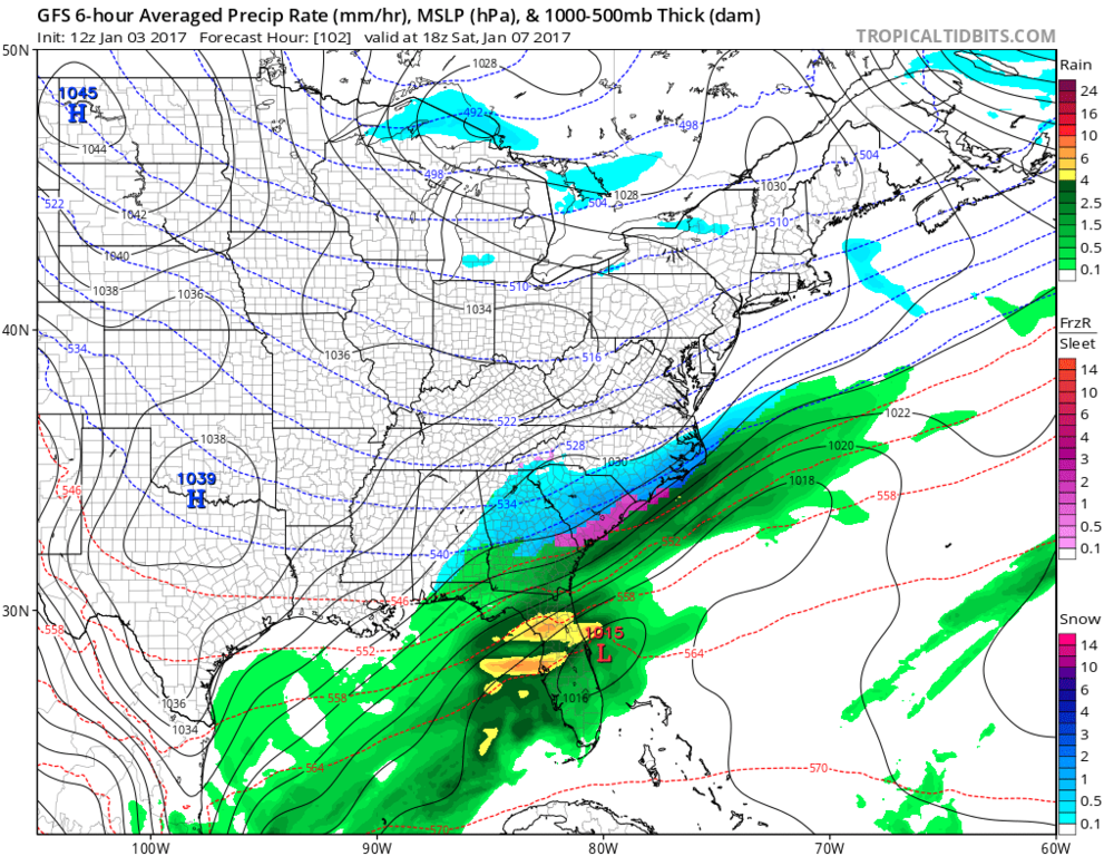 12Z GFS forecast map for Saturday afternoon (snow in blue); map courtesy tropicaltidbits.com. NOAA