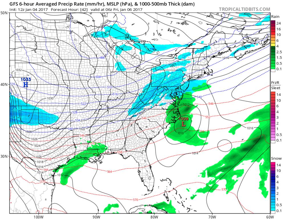 12Z GFS forecast map for late tomorrow night (snow in blue); map courtesy tropicatidbits.com, NOAA