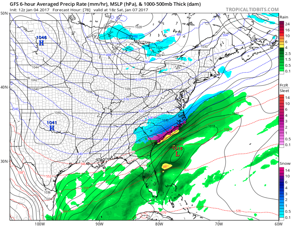 12Z GFS forecast map for early Saturday afternoon; map courtesy tropicaltidbits.com, NOAA