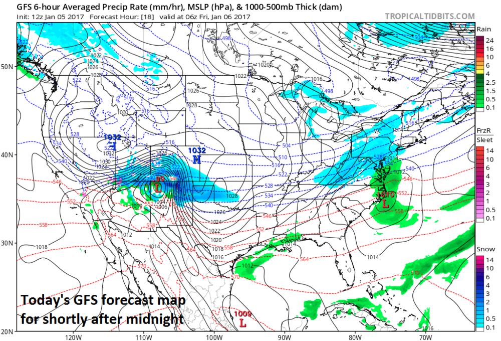 12Z GFS forecast map for shortly after midnight with snow shown in blue; map courtesy tropicatidbits.com, NOAA