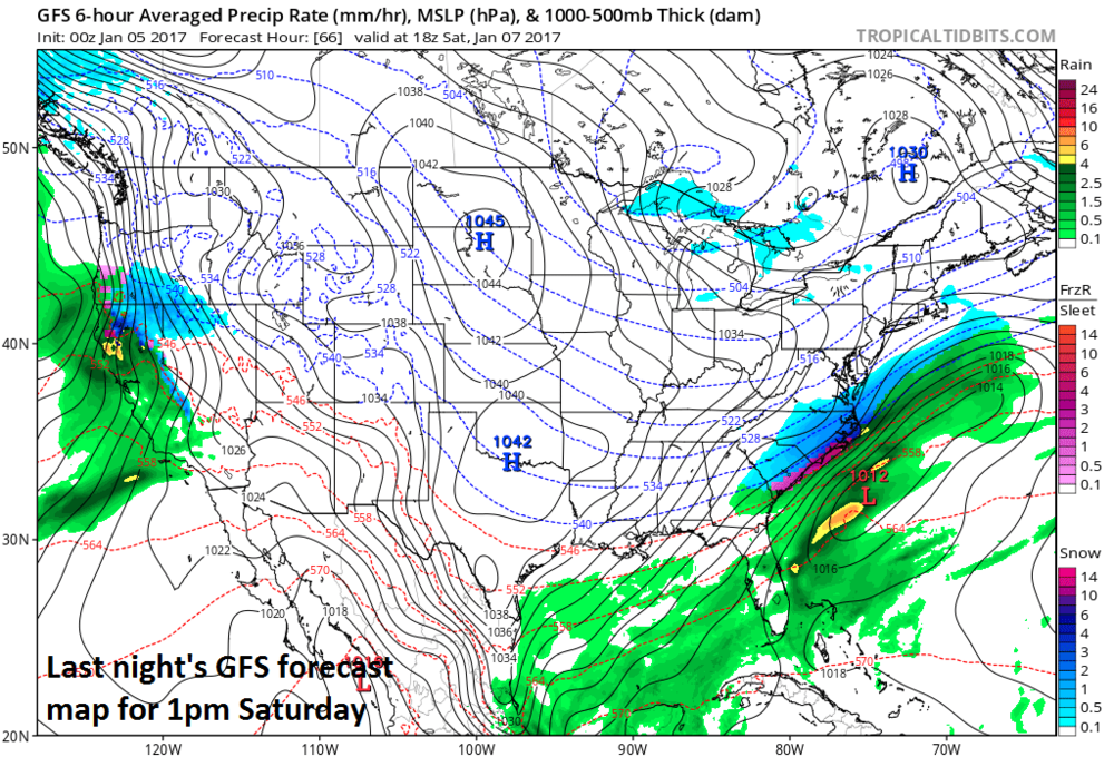 Last night's run of the GFS model for early Saturday afternoon; map courtesy tropicaltidbits.com, NOAA