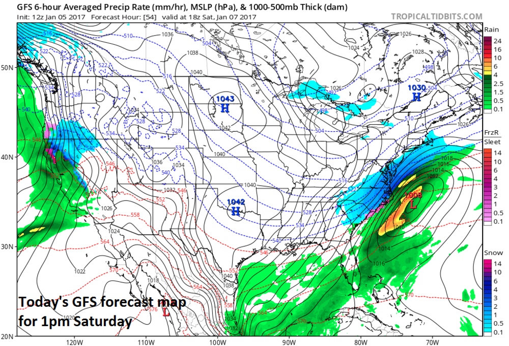 Today's run of the GFS model with a noticeable shift from the prior run in its snow field (blue) to the northwest; map courtesy tropicaltidbits.com, NOAA