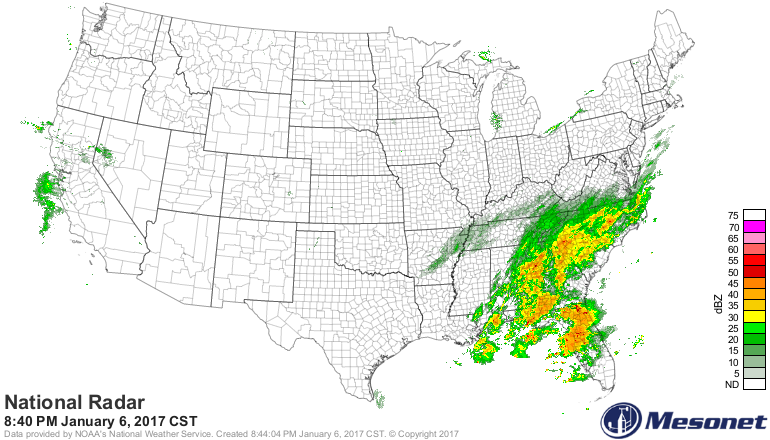 Latest US radar map with lots of precipitation in the eastern US and California; courtesy Mesonet
