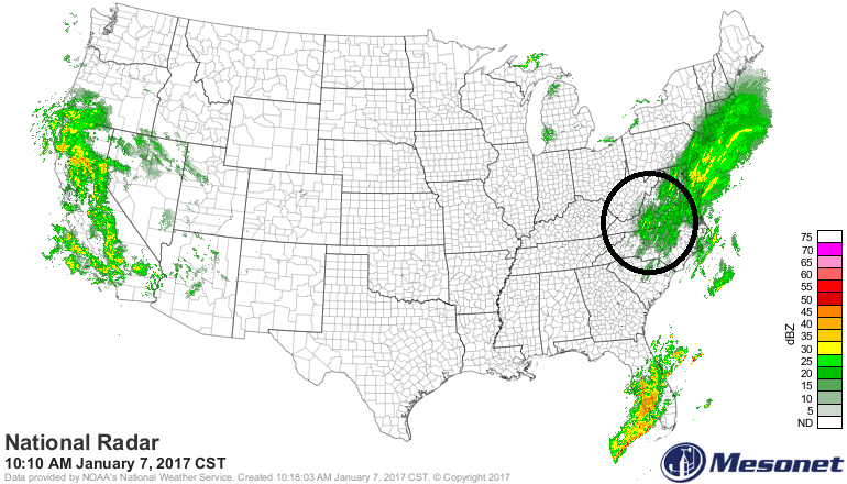 Area of radar echoes in circled region can affect DC, Philly, NYC later today