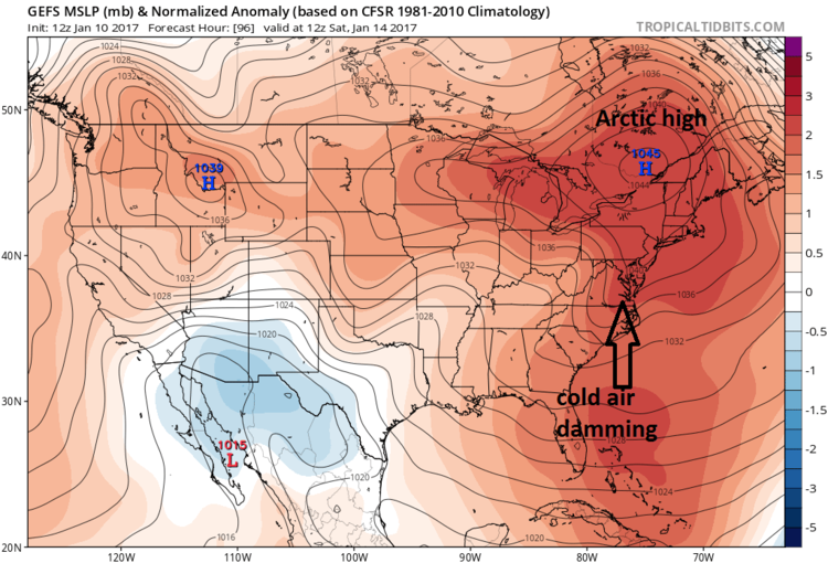 12Z GFS surface forecast map for early Saturday featuring strong Arctic high pressure to our north; map courtesy tropicaltidbits.com, NOAA/EMC