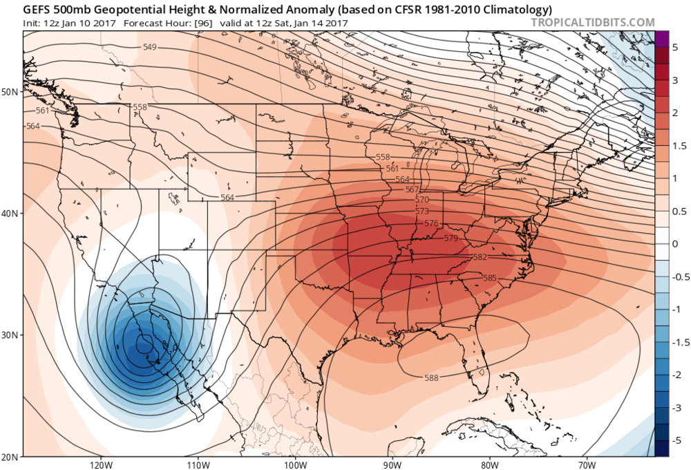 12Z GFS forecast map of height anomalies at 500 millibars for early Saturday; map courtesy tropicaltidbits.com, NOAA/EMC