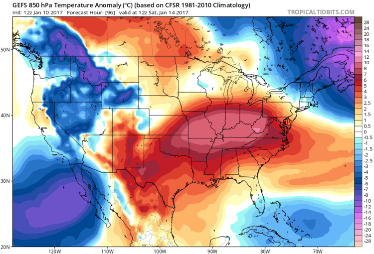 12Z GFS forecast map of 850 mb temperature anomalies for early Saturday; map courtesy tropicaltidbits.com, NOAA/EMC