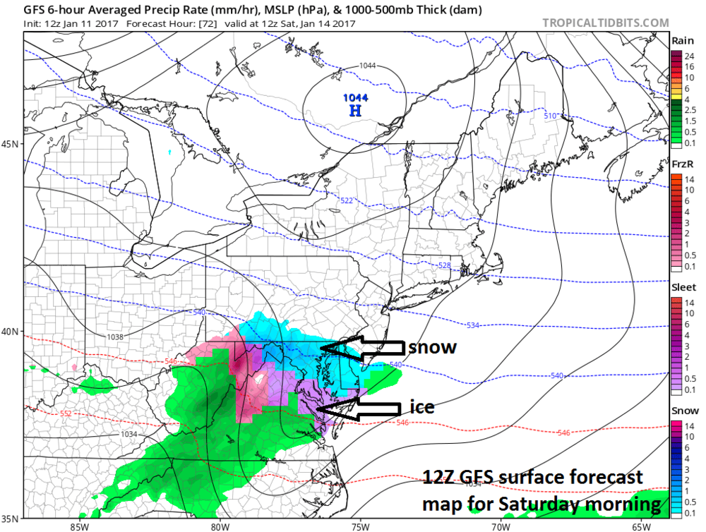 12Z GFS surface forecast map for early Saturday (snow in blue, ice in pink/purple); map courtesy tropicaltidbits.com, NOAA/EMC