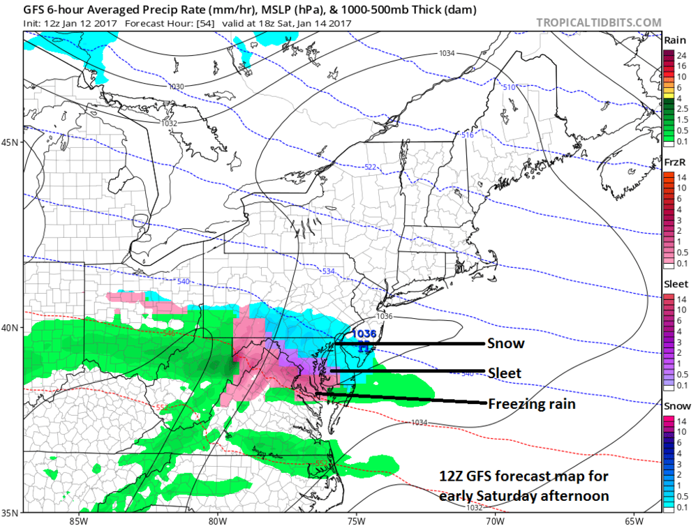 12Z GFS forecast map for early Saturday afternoon (snow in blue, sleet in purple, freezing rain in pink); map courtesy tropicaltidbits.com, NOAA/EMC