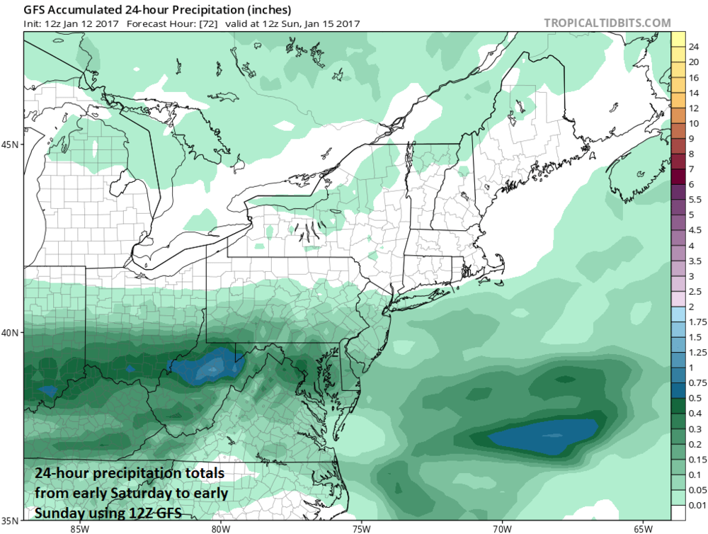 24-hour precipitation totals from early Saturday to early Sunday using 12Z GFS with highest amounts in I-95 corridor across the DC metro region and the lowest amounts in and around NYC; map courtesy tropicaltidbits.com, NOAA