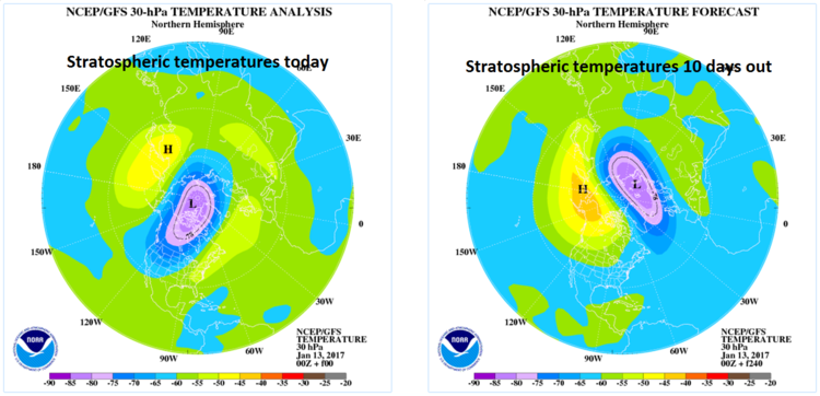 Stratospheric warming event to take place across Canada and northern US during the next ten days; courtesy NOAA