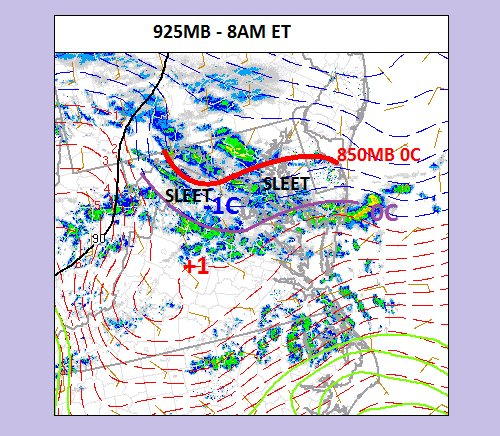 "Surface analysis map at 8am showing location of a corridor of ice pellets; map courtesy ""crankyweatherguy"": Twitter"