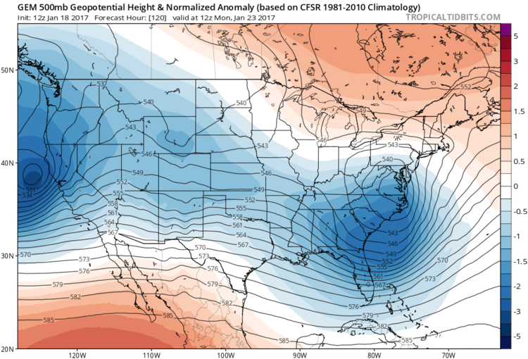 12Z Canadian forecast map of 500 mb height anomalies for next Monday morning; courtesy tropicatidbits.com