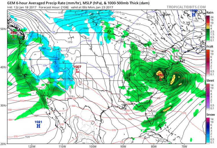 12Z Canadian model forecast map at the surface for Sunday evening; courtesy tropicaltidbits.com