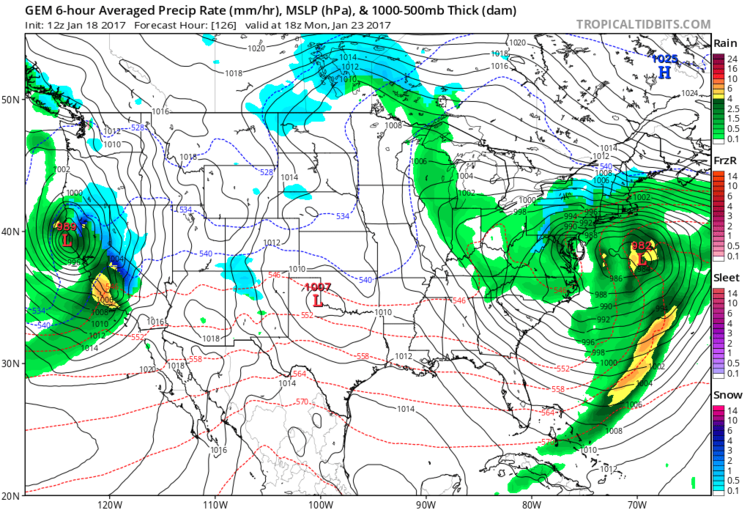 12Z Canadian model forecast at the surface for early Monday afternoon showing the slow movement of the Mid-Atlantic low; courtesy tropicaltidbits.com