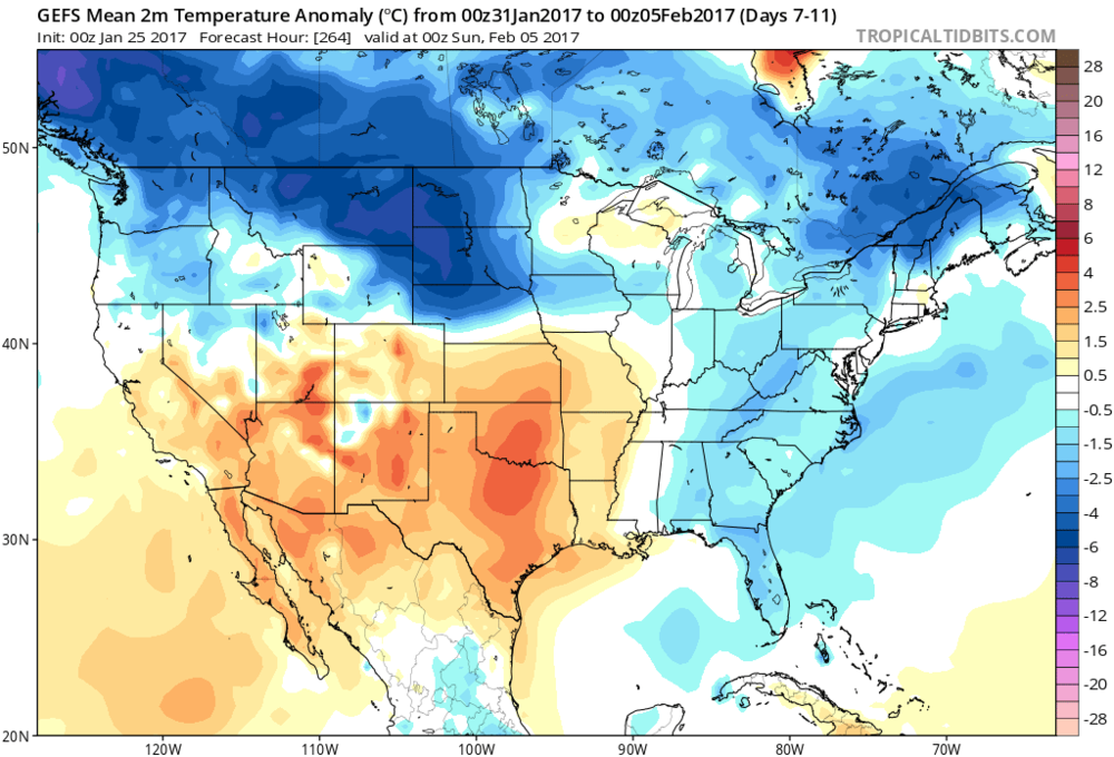Temperature anomalies from 00Z GEFS for days 7-11; courtesy tropicaltidbits.com, NOAA