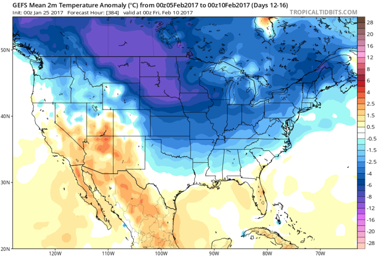 Temperature anomalies from 00Z GEFS for days 12-16 with lots of cold air upstream; courtesy tropicaltidbits.com, NOAA