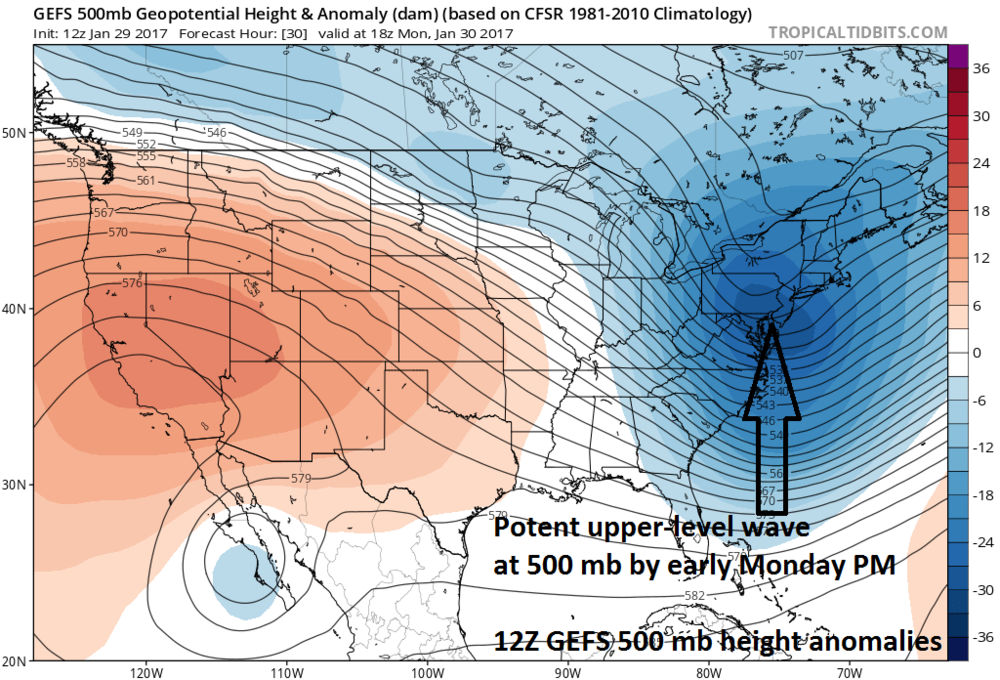 A potent wave of energy in the upper atmosphere near the Mid-Atlantic coastline come early Monday afternoon (shown in blue on 500 mb height anomaly 12Z GEFS forecast map); map courtesy tropicaltidbits.com, NOAA/EMC