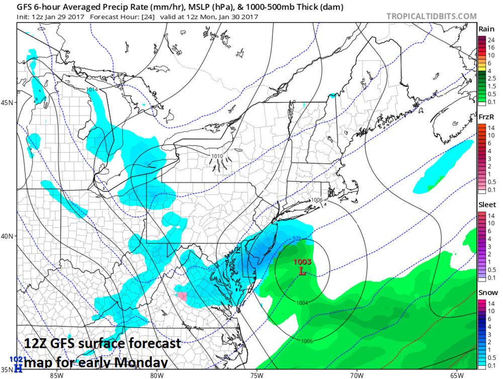 12Z GFS surface forecast map for early Monday; map courtesy tropicatidbits.com, NOAA/EMC
