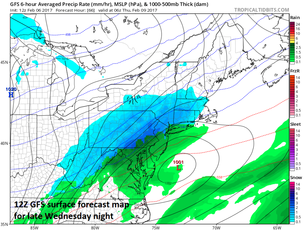 12Z GFS surface forecast map for late Wednesday night; map courtesy tropicaltidbits.com, NOAA/EMC