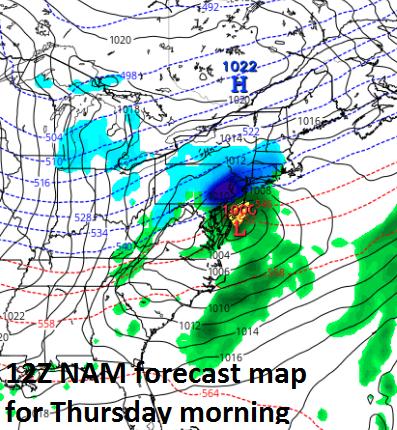 12Z NAM surface forecast map for early Thursday morning; map courtesy tropicaltidbits.com, NOAA/EMC