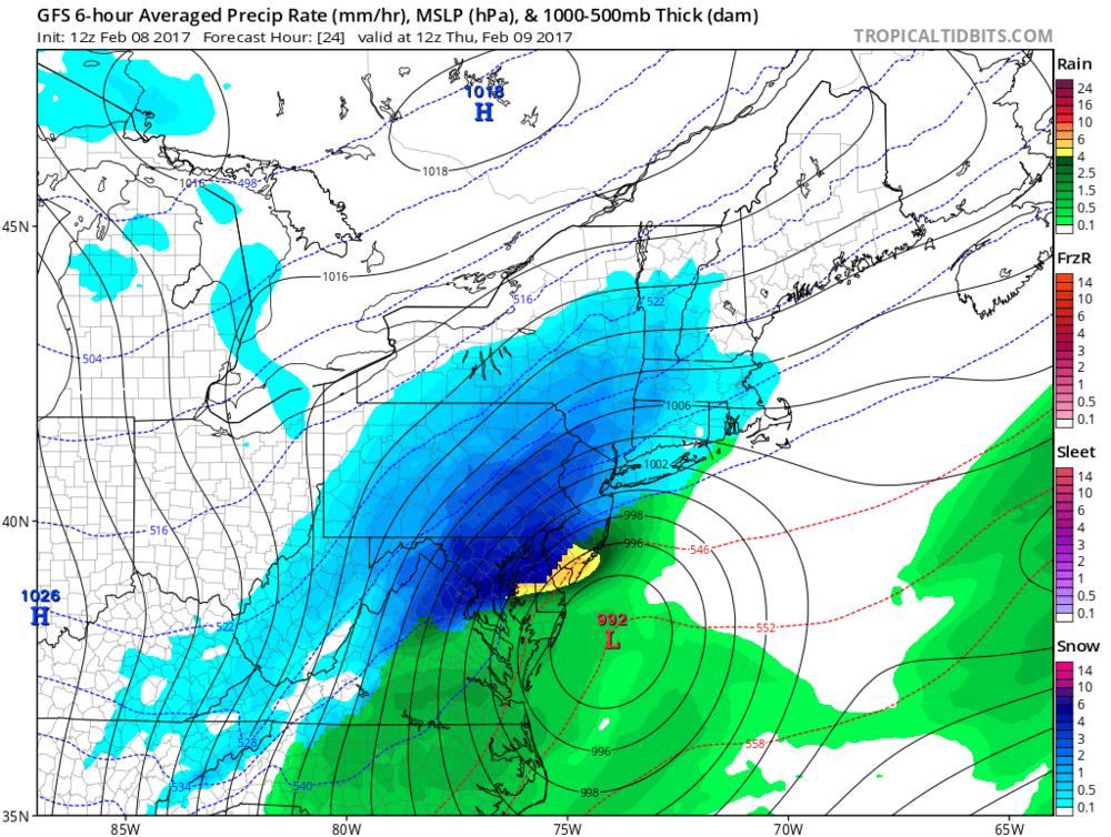 12Z GFS surface forecast map for 7am Thursday; courtesy tropicaltidbits.com, NOAA/EMC