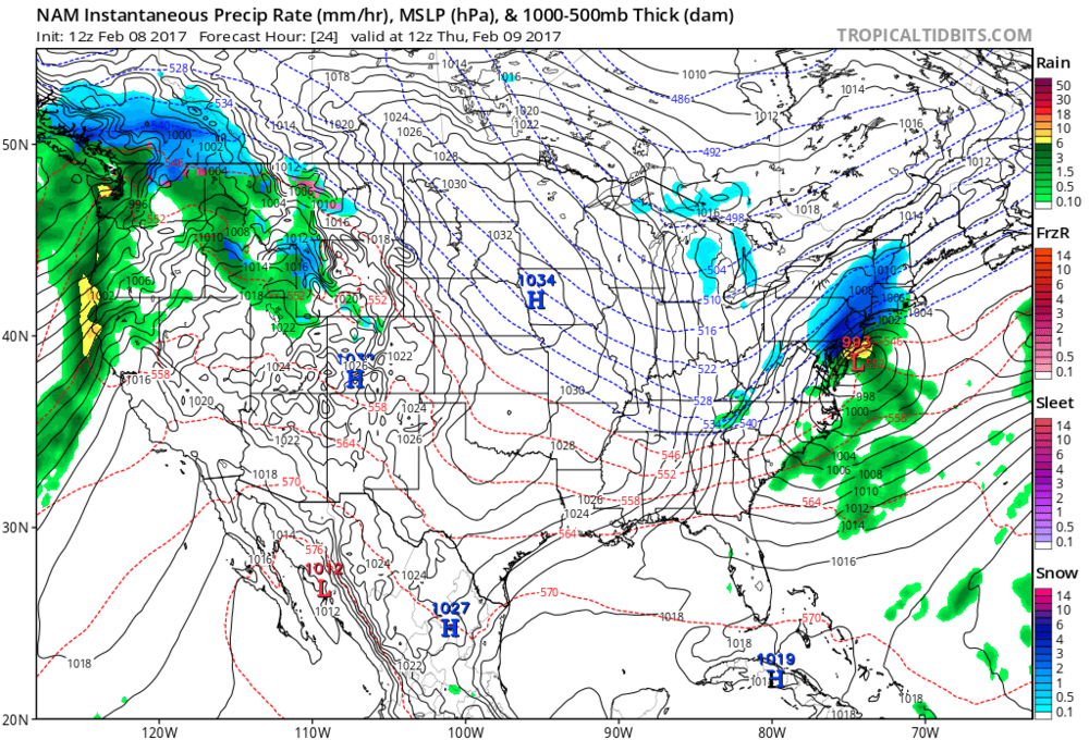 12Z NAM surface forecast map for 7am Thursday; courtesy tropicaltidbits.com, NOAA/EMC