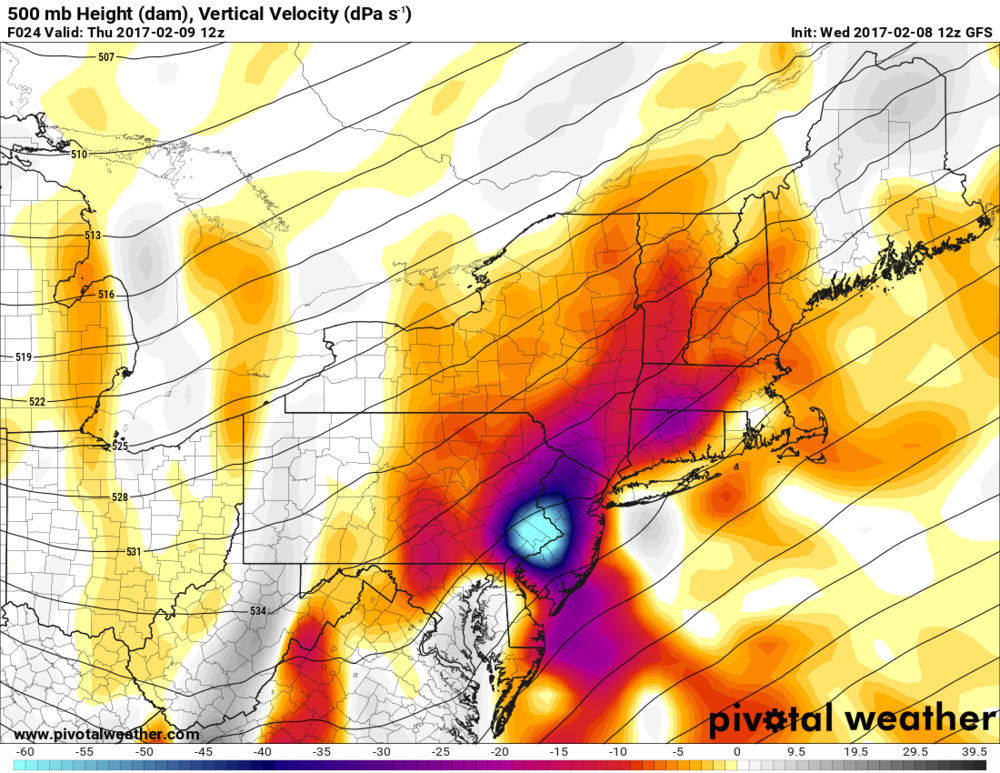 Tremendous vertical velocities predicted by the 12Z GFS for 7am Thursday over SE PA, western NJ; courtesy Pivotal Weather