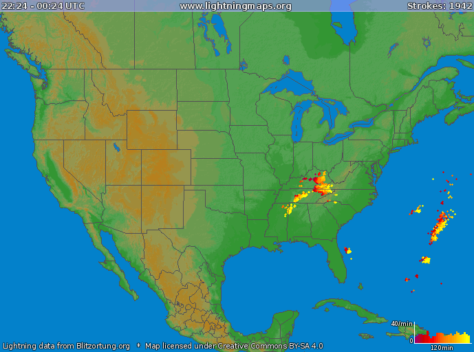 Lightning strikes over the Tennessee Valley