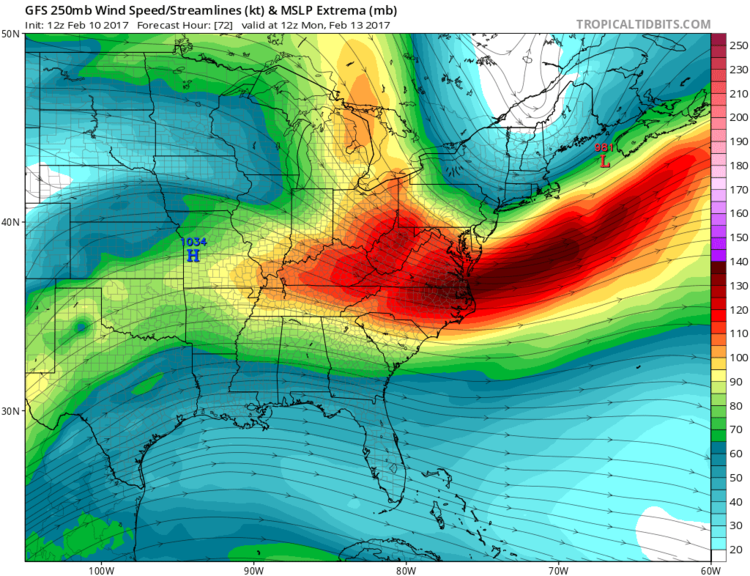 12Z GFS forecast map for 250 mb winds showing powerful upper-level jet streak aiding in the explosive intensification of low pressure near Maine and strong winds throughout the Northeast US; map courtesy tropicaltidbits.com, NOAA/EMC