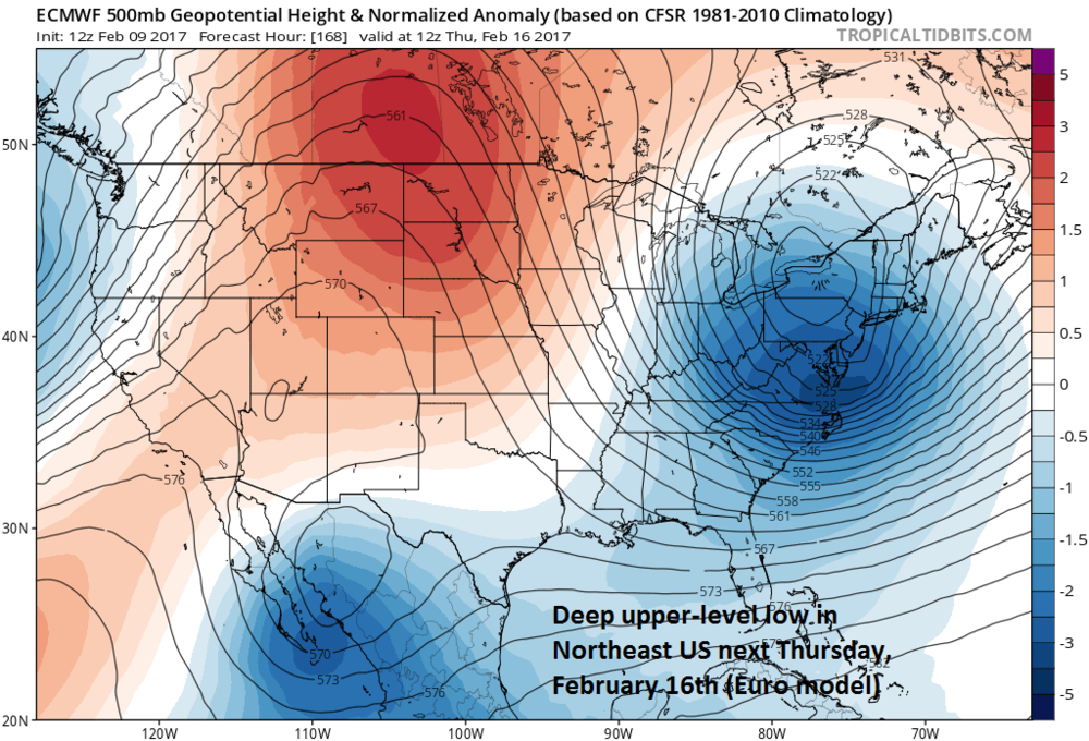 12Z (Thursday) Euro forecast map for next Thursday, February 16th, showing deep trough in the eastern US; courtesy tropicaltidbits.com, NOAA/EMC