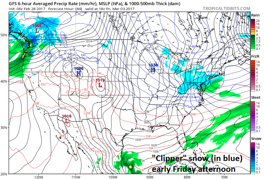 06Z GFS surface forecast map for early Friday afternoon; courtesy tropicaltidbits.com, NOAA/EMC