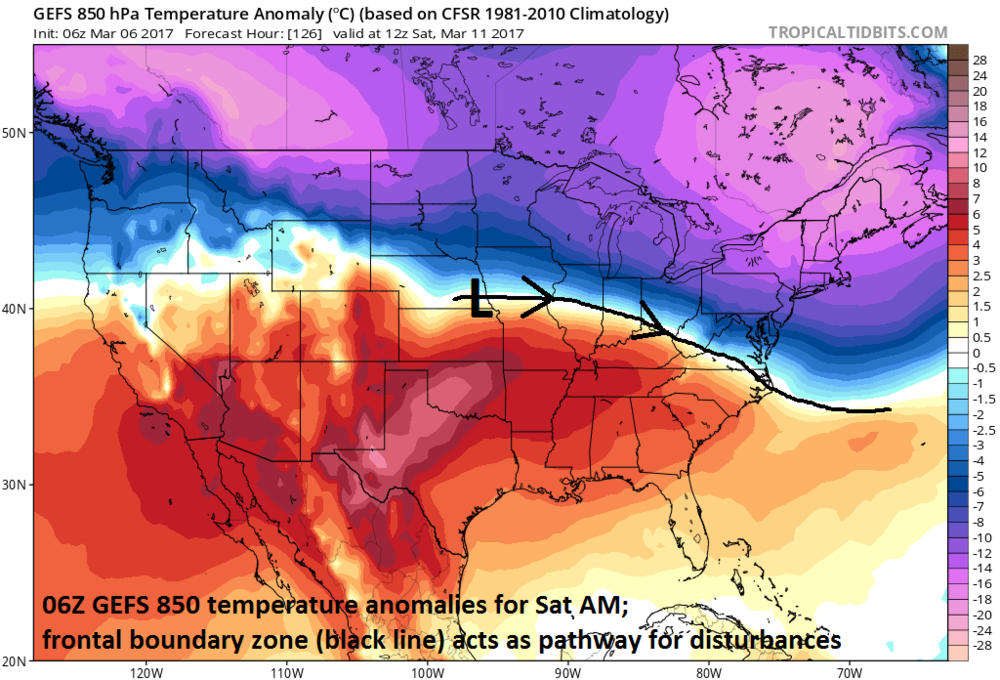 06Z GEFS 850 mb temperature anomalies for early Saturday with a frontal boundary zone (black line)providing a pathway for low pressure systems; courtesy tropicaltidbits.com, NOAA/EMC