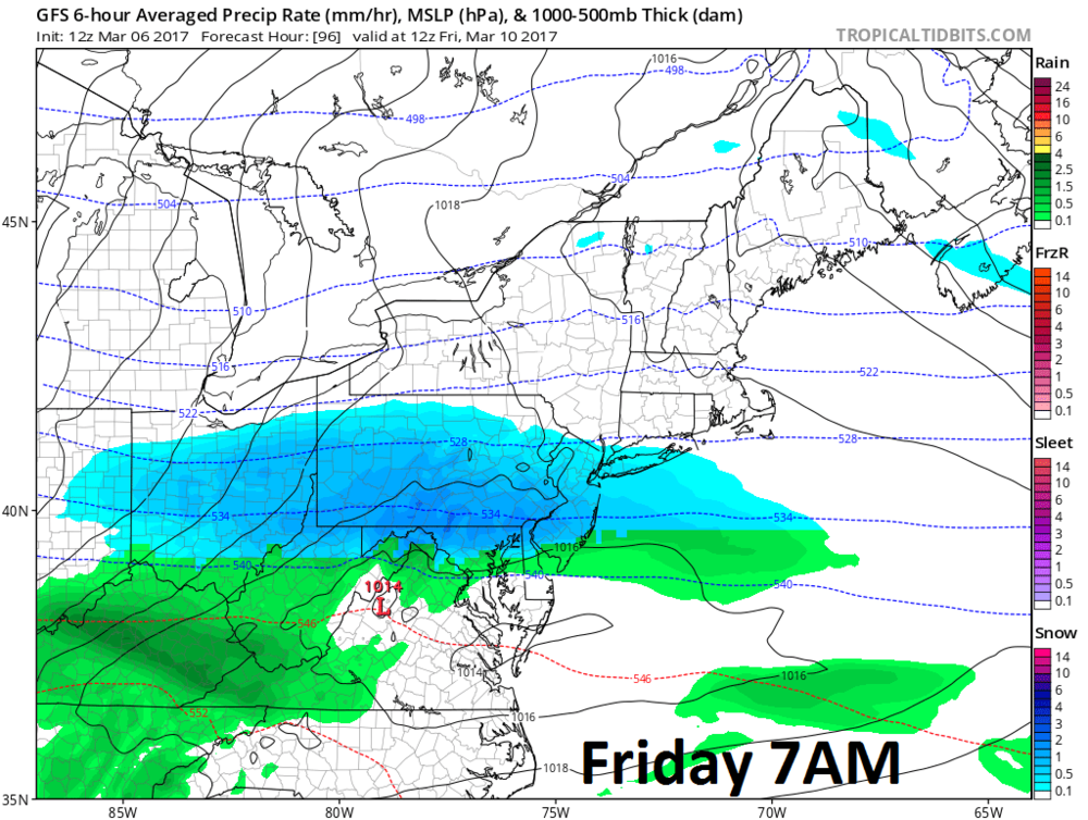 12Z GFS forecast map for early Friday with snow in blue, rain in green; courtesy tropicaltidbits.com, NOAA/EMC