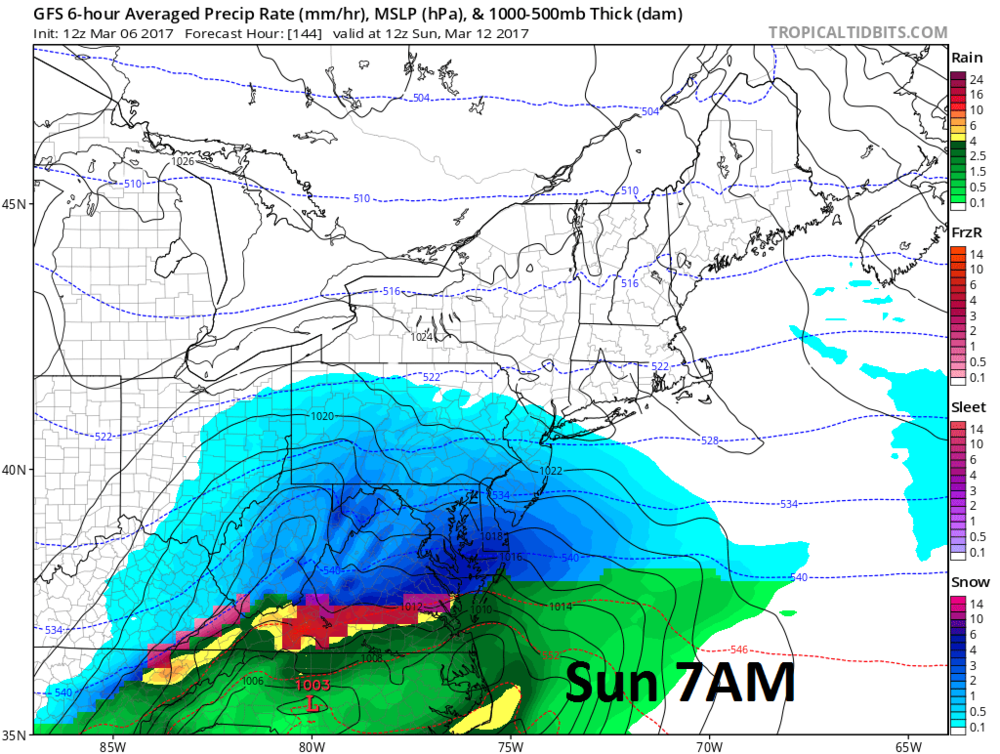 12Z GFS forecast map for early Sunday with snow in blue, rain in green; courtesy tropicaltidbits.com, NOAA/EMC