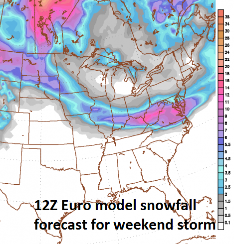 12Z Euro snowfall map for the weekend storm