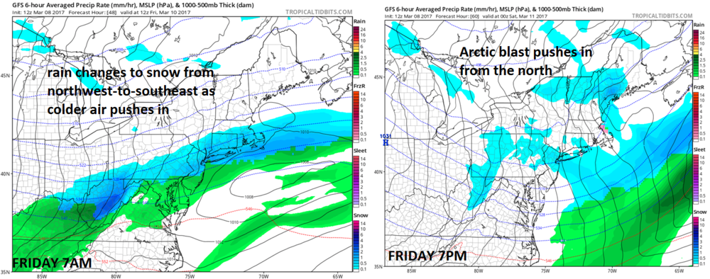 12Z GFS forecast maps for 7am Friday (left) and 7pm Friday (right); maps courtesy tropicaltidbits.com, NOAA/EMC