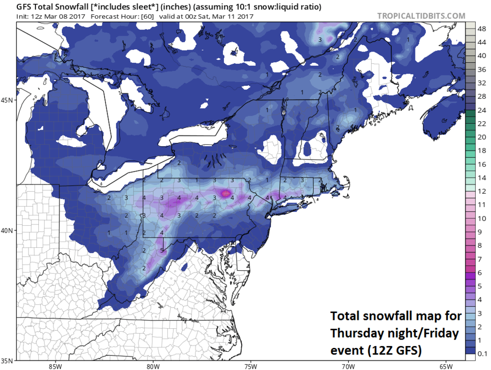12Z GFS forecast map of total snowfall for the Thursday night/Friday event; map courtesy tropicaltidbits.com, NOAA/EMC