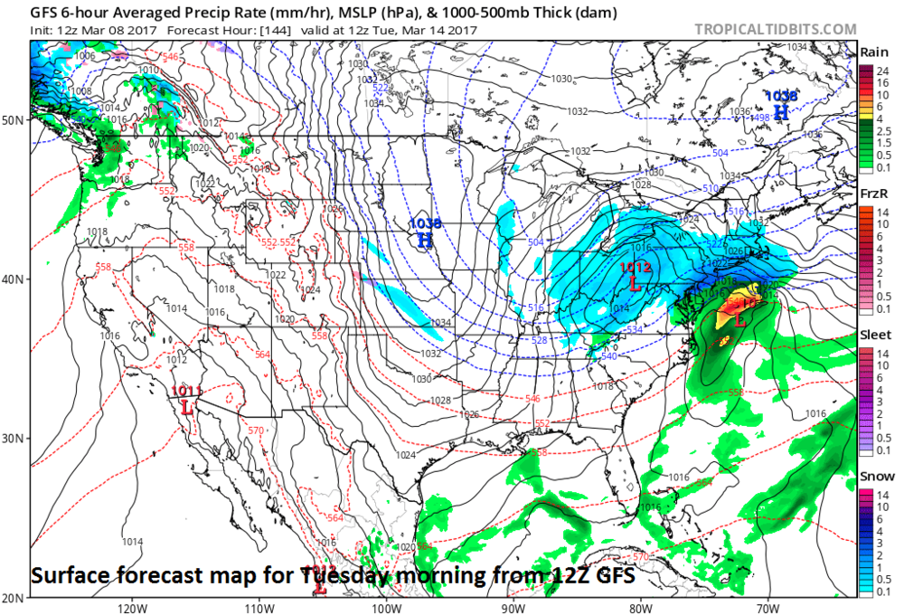 12Z GFS surface forecast map for Tuesday morning; map courtesy tropicaltidbits.com, NOAA/EMC