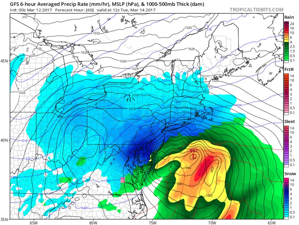 00Z GFS forecast map for early Tuesday; map courtesy tropicaltidbits.com, NOAA/EMC
