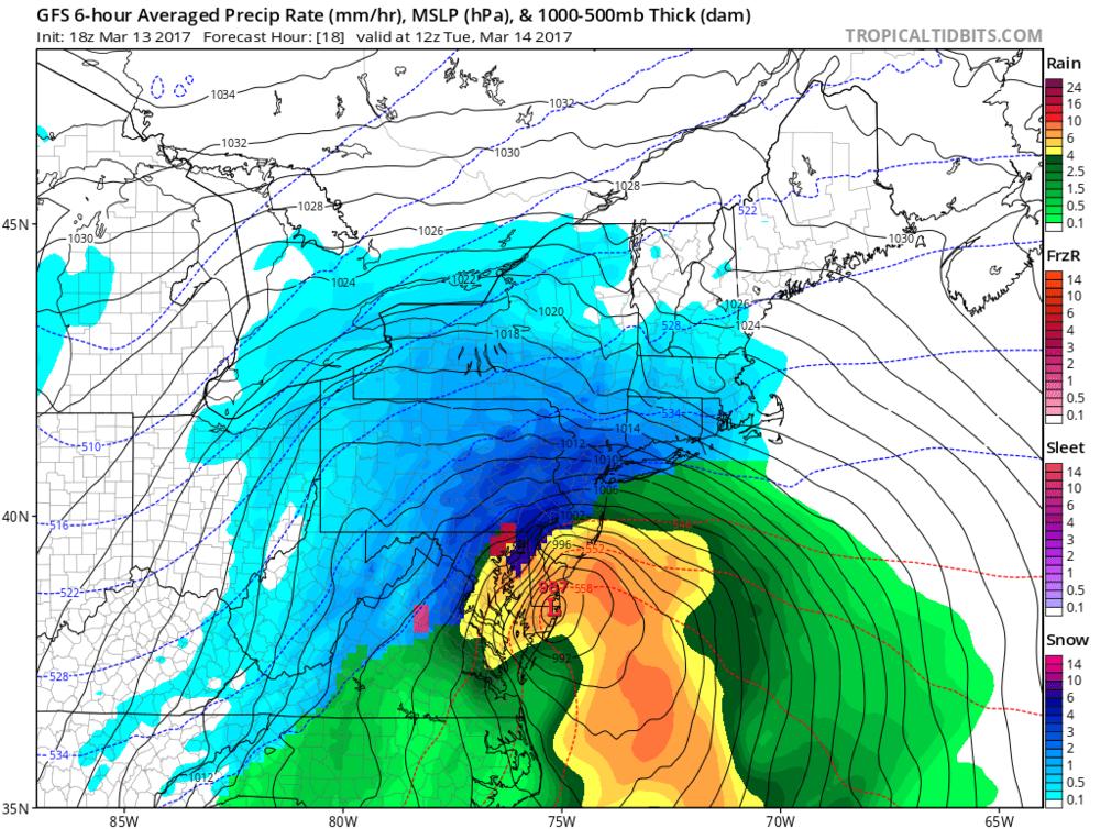 18Z GFS forecast map for 8am Tuesday; courtesy tropicaltidbits.com, NOAA/EMC