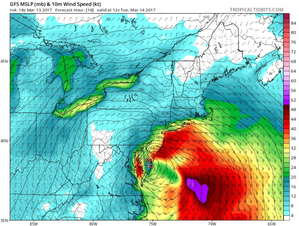Wind gust forecast map for early Tuesday with 40+ knots along the coast of NJ and also over the Chesapeake Bay