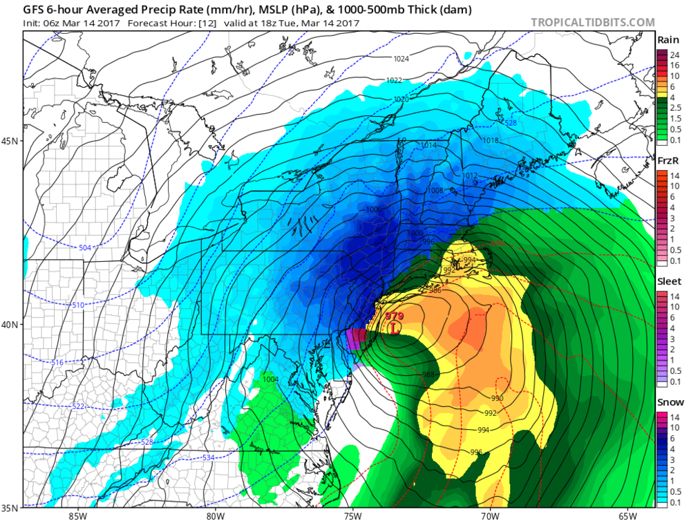 2pm forecast map from the 06Z GFS model run with return to snow in most regions along I-95