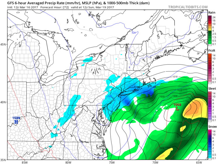 12Z GFS forecast map for early Sunday morning during the