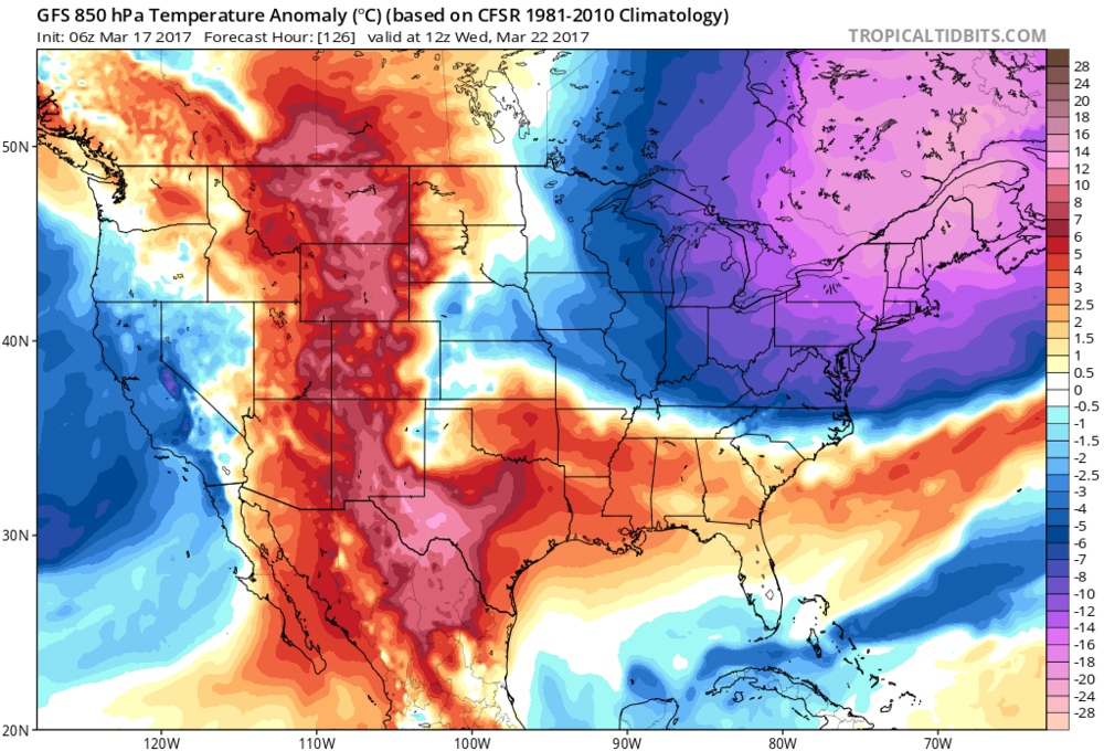 Another significant cold air outbreak arrives by the middle of next week in the Northeast US; map courtesy tropicaltidbits.com, NOAA/EMC (06Z GFS)